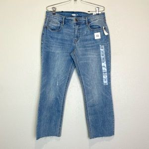 Old Navy NEW Flare Raw Hem Ankle Jeans Sz 12